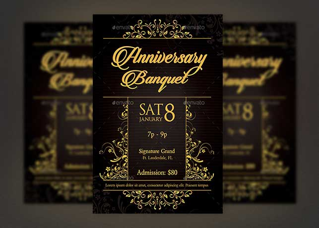 Golden Anniversary Banquet Flyer Template | GraphicMule