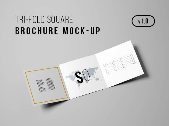 Square Tri-Fold Brochure Mockup - Tri Fold Brochures Free