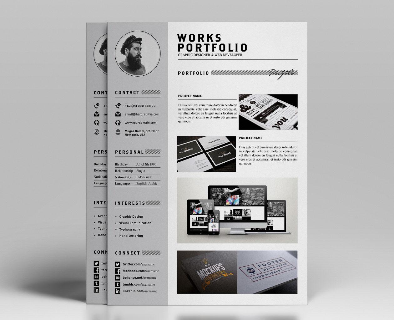 template cv portfolio html free