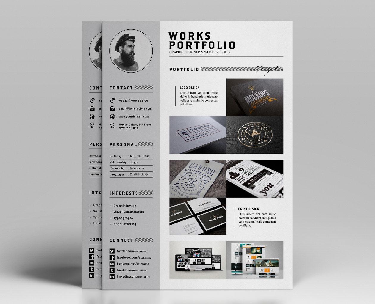 free resume letter portfolio template by angga baskara