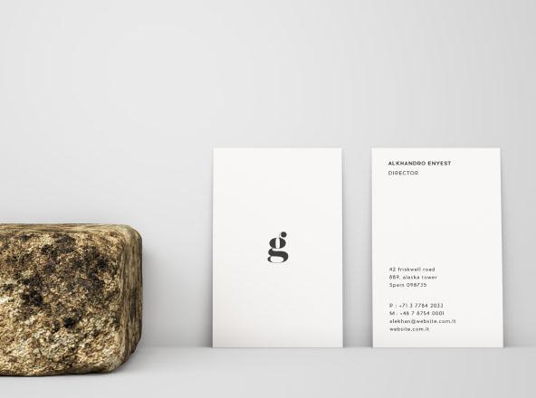 Vertical Business Card Mockup - Front  Back