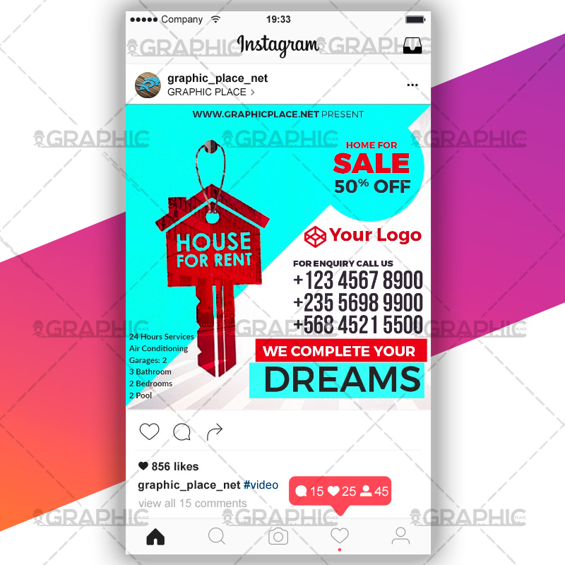 House For Rent - Social Media Video Template GraphicPlace