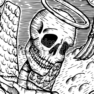 Cute Dia De Los Muertos Wallpaper Angel Skull Vector Art Day Of The Dead Jose Guadalupe