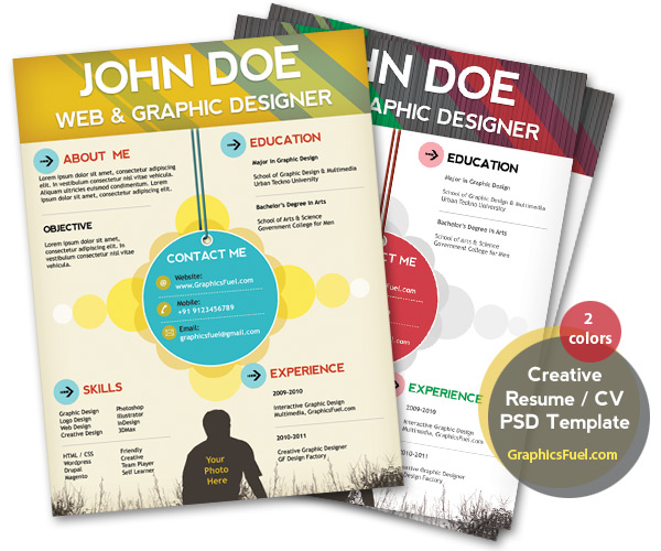 Free Creative Professional Photoshop Cv Template Creative Resume Cv Psd Template Cmyk Print Ready