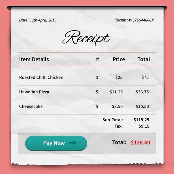 Payment Receipt PSD - GraphicsFuel
