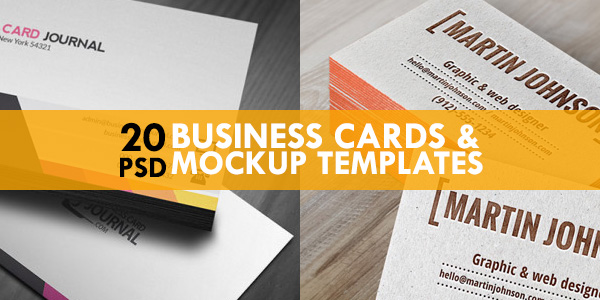 20 Free Business Cards  Mockup PSD Templates - GraphicsFuel