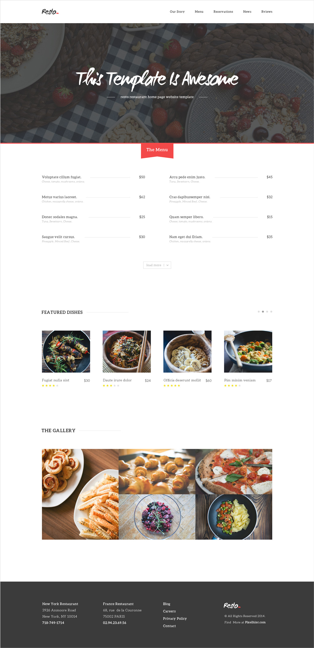 restuarant menu templates
