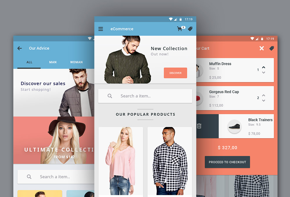 Free Ecommerce App UI Designs - GraphicsFuel - office newsletter