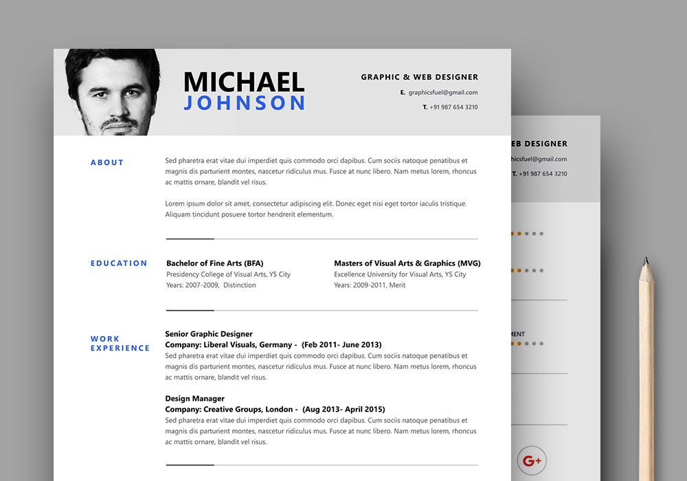 Resume / CV PSD Template - GraphicsFuel