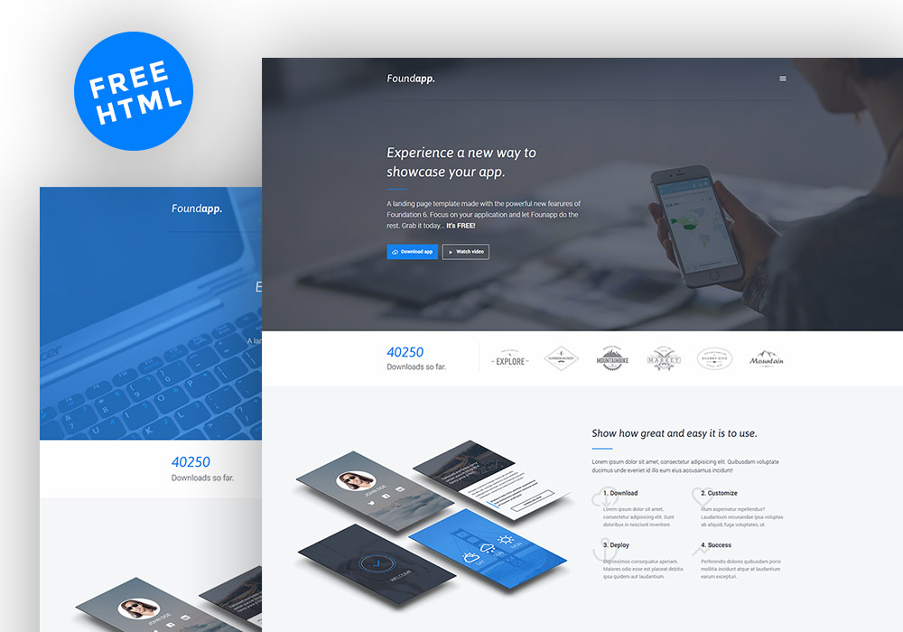 Free Mobile App Landing Page - GraphicsFuel - app landing page template