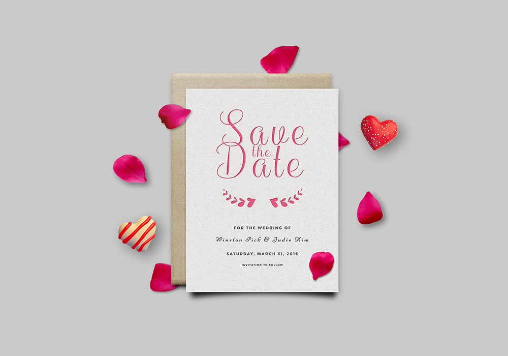 Save The Date Invitation Card Mockup PSD - GraphicsFuel - download invitation card