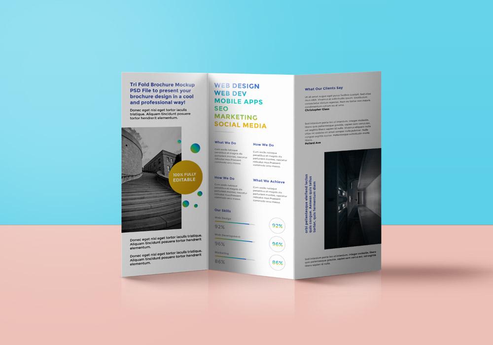 Tri-Fold Brochure Mockup PSD - GraphicsFuel