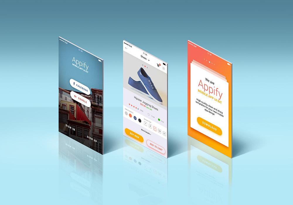 App Screens Standing Mockup - GraphicsFuel