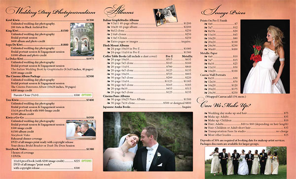 The Graphics Guy - Gallery - Weddings by Dos Kiwis Pricelist Brochure - wedding price list