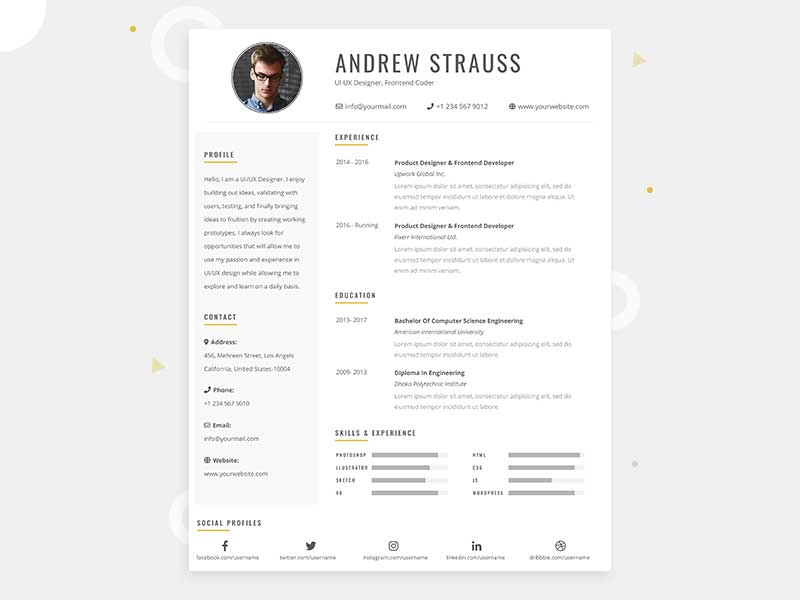 Clean CV Resume Template Design in Photoshop +Free PSD File