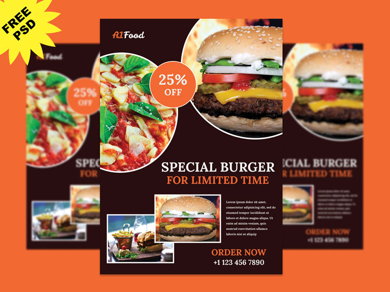 Restaurant Flyer Design in Photoshop - GraphicSlot