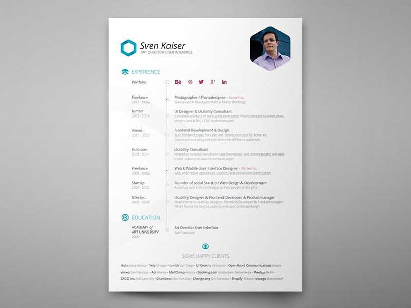 Design Clean CV Resume in Photoshop - GraphicSlot