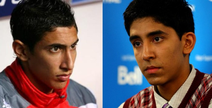 Argentine Angel Di Maria and Dev Patel of Slumdog Millionaire