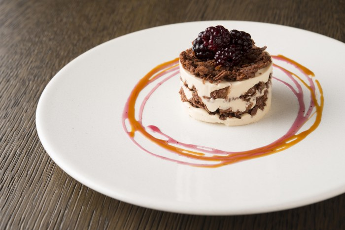 Coffee and white chocolate parfait with poached blackberries