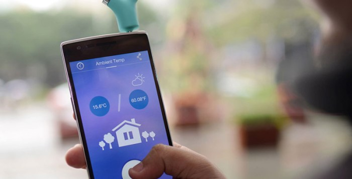 Wishbone thermometer attached to a smartphone