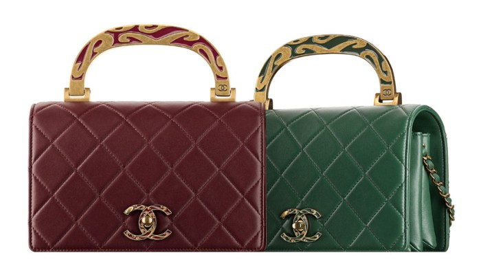 Calfskin-Chanel-flap-bag-with-Enamel-Handle