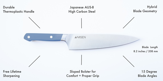 Parts of the Misen Chef Knife