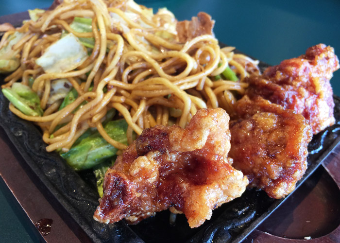 Fried chicken noodles at Lucky Pierrot