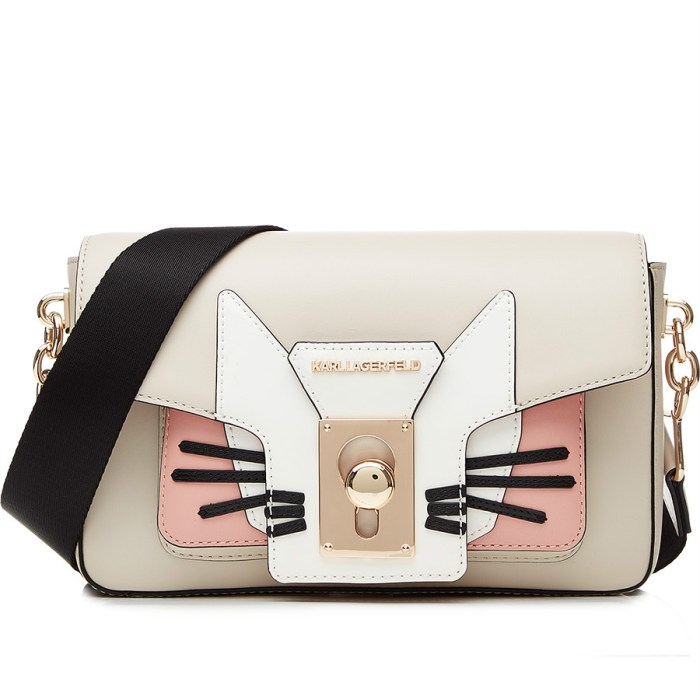 K/Pin Closure Choupette Leather Shoulder Bag