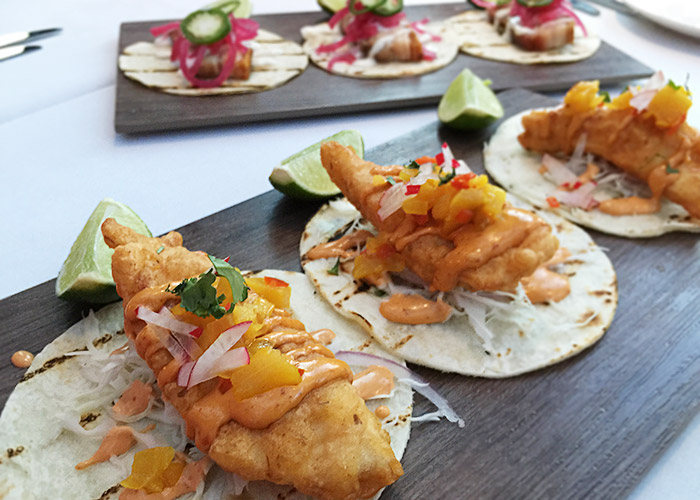 Fish Tacos and Crispy Pork Belly Tacos