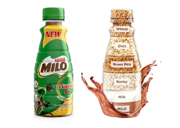 Milo Nutri G bottle and ingredients