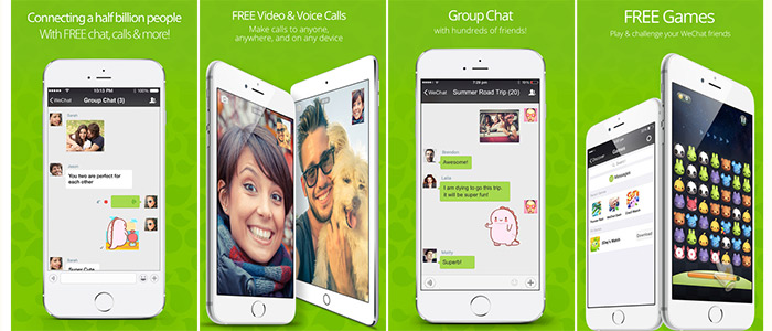 WeChat app screenshots in apps for free voice and video calls