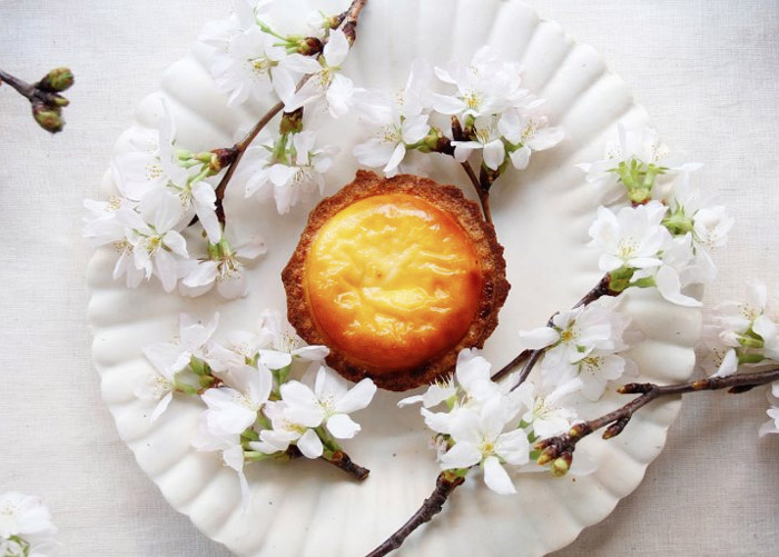 Hokkaido Bake Cheese Tart on plate with flowers