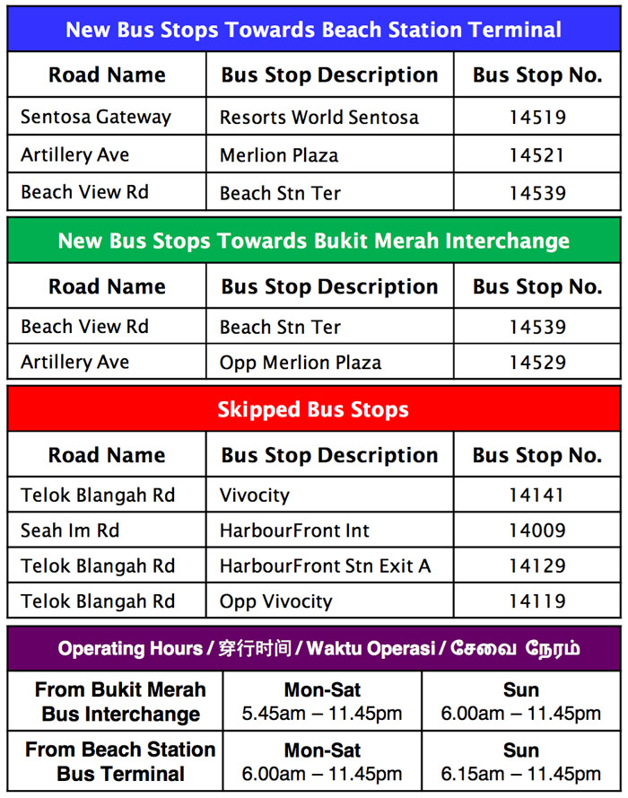 Changes and operating hours for bus service 123 to sentosa