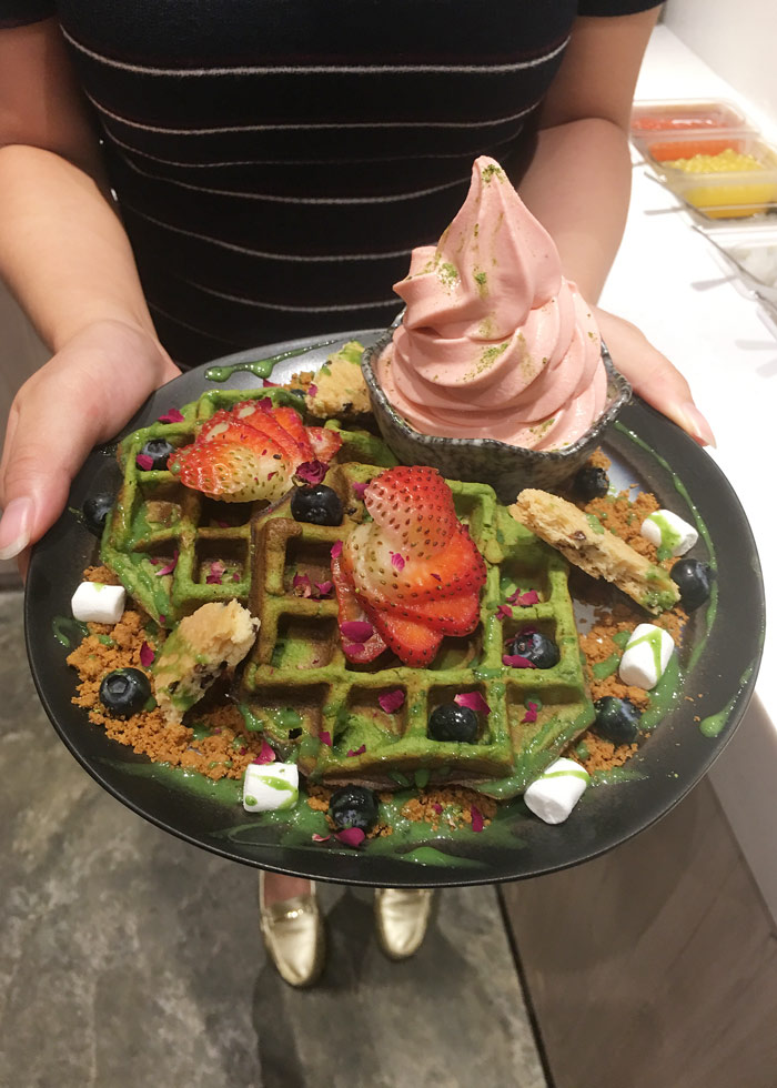 Matcha mochi waffles with strawberry thyme froyo, KARA cafe and dessert bar