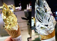 Gold leaf ice-cream at Small Potatoes Ice Creamery