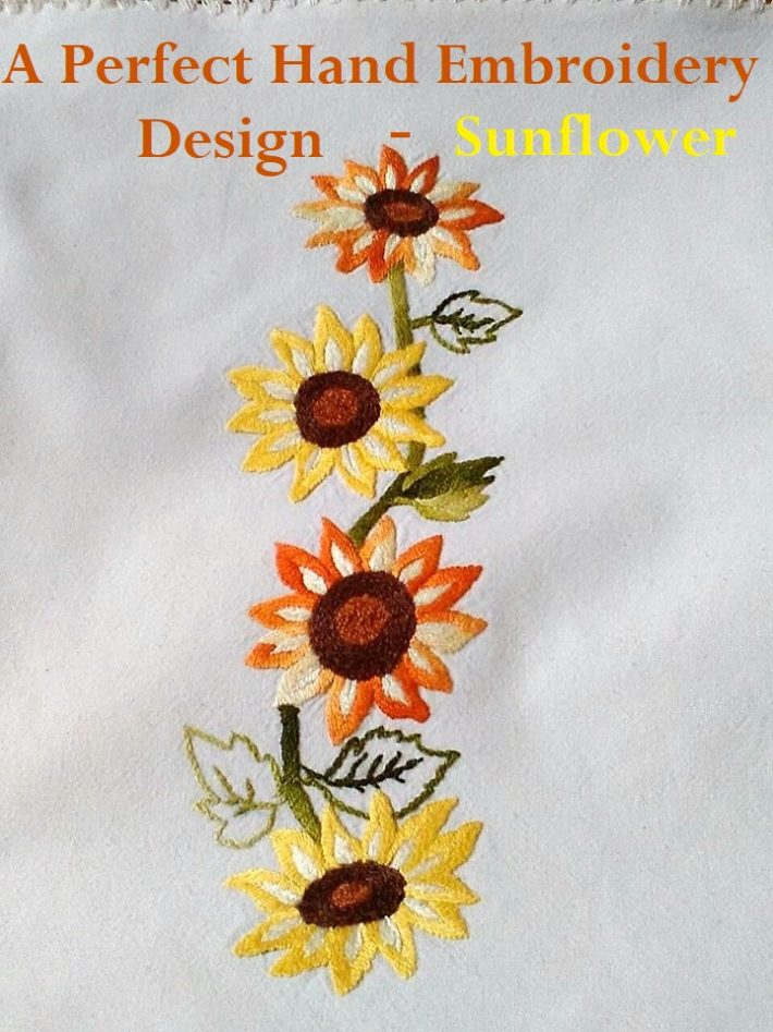 Gratitude Is Minea Perfect Handmade Embroidery Design Sunflower