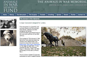 Animals in War memorial website screen shot