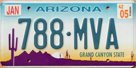 Arizona U.S. license plate