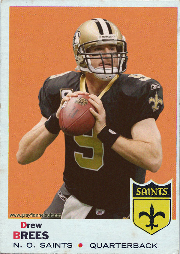Retro Football Cards -- Drew Brees, Topps 1969 Style