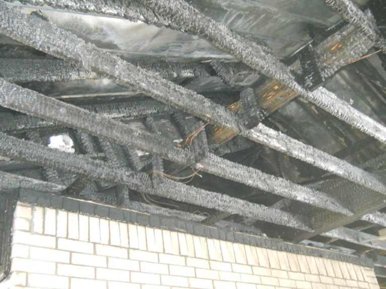 FIre damage to the rafters