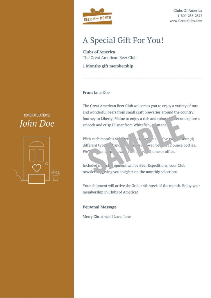 Email or Print Gift Card - Clubs of America - gift letter