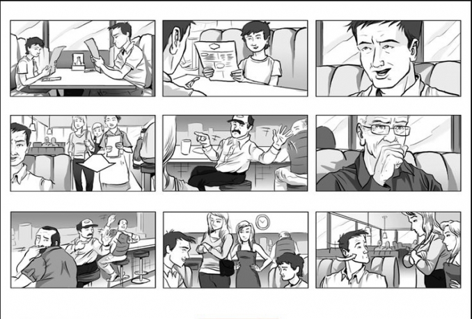 I will draw a one page storyboard for your movie or music video for