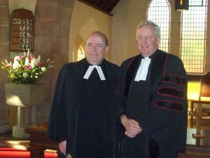 Induction Sunday at Glengarry Parish Church.- Rev George Whyte, Principal Clerk of the Church of Scotland who preached Rev Anthony Jones in to his new parishes. Reverend George and Reverend Anthony are both pictured following Reverend Anthony's inaugural services at Fort Augustus and Glengarry on Sunday 4th February, 2018.