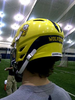 Michigan Lacrosse Wolverine Helmet Rear View