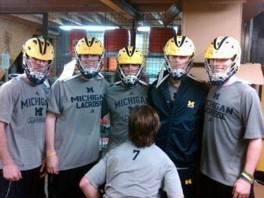Michigan Lacrosse Wolverine Helmet Front View