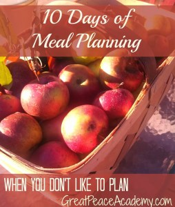 10 Days of Meal Planning When You Don't Like to Plan | Renée at Great Peace Academy