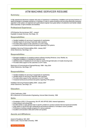 Sample ATM Machine Servicer Resume