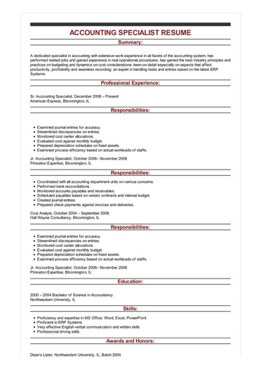Sample Accounting Specialist Resume