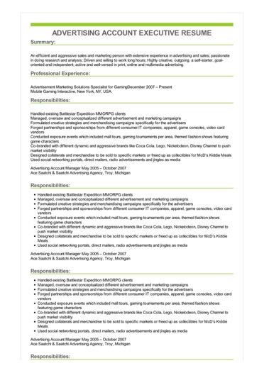Sample Advertising Account Executive Resume