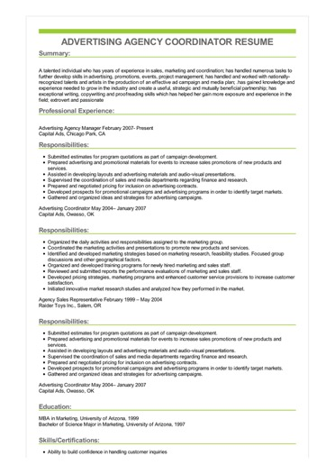 Sample Advertising Agency Coordinator Resume